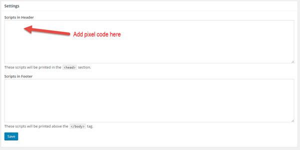 adding the pixel to wordpress