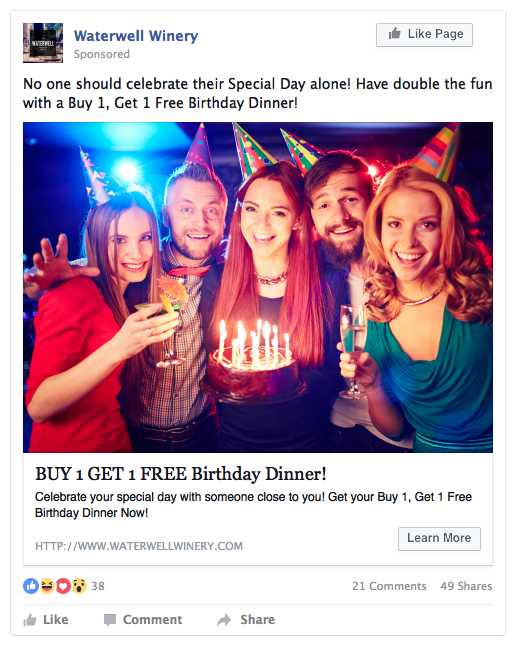 Free Birthday Dinner - Restaurant Ad
